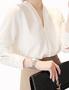 Women's Casual/Daily Work Street chic Summer Shirt,Solid V Neck Long Sleeve Cotton Polyester Medium