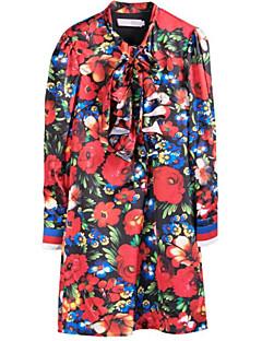 Kadın Dışarı Çıkma Günlük/Sade Sokak Şıklığı Çan Elbise Çiçekli,Uzun Kol Dik Yaka Mini Polyester Sonbahar Normal Bel Mikro-Esnek Kalın