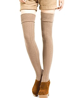 cheap Socks & Hosiery-Women's Medium Stockings,Cotton Solid 1set Black Dark Gray Wine Khaki Light gray