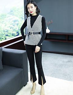 お買い得  レディースツーピースセット-女性用 ニット - スリット 編み, ソリッド 千鳥格子 パンツ