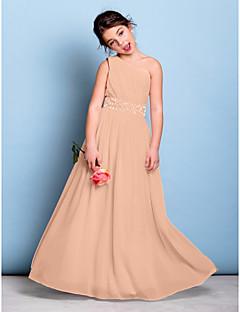 tanie Sukienki dla dziewczynek z kwiatami-Krój A Na jedno ramię Sięgająca podłoża Szyfon Sukienka dla młodszej druhny z Koraliki / Przewiązka / Wstążka / Fałdki boczne przez LAN TING BRIDE® / Naturalny