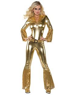 Vintage Hippie Jaren '70 Kostuum Vrouwelijk Feestkostuum Gouden Vintage Cosplay Lange mouw Klok Slip