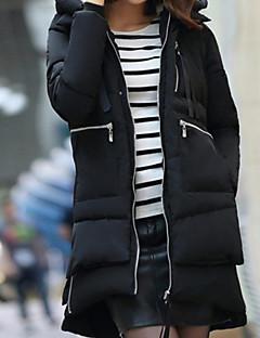 billige Overtøj til damer-Dame Løstsiddende Bomuld Lang Vatteret - Ensfarvet, Moderne Stil