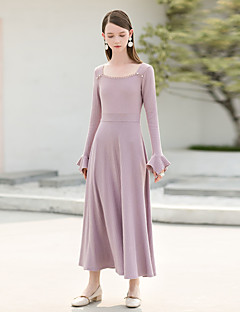 זול שמלות נשים-צווארון מרובע מותניים גבוהים מידי חרוזים, אחיד - שמלה סווינג שרוול עלי כותרת וינטאג' בגדי ריקוד נשים
