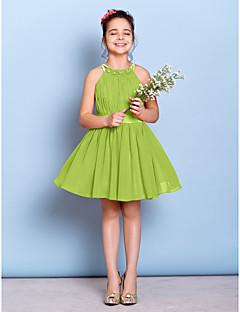 tanie Sukienki dla dziewczynek z kwiatami-Krój A Zaokrąglony Do kolan Szyfon Sukienka dla młodszej druhny z Koraliki Fałdki Przewiązka / Wstążka przez LAN TING BRIDE®