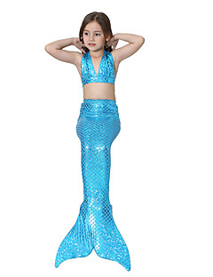 billige Halloweenkostymer-The Little Mermaid Skjørt Barne Halloween Festival / høytid Halloween-kostymer Turkis Grønn Blå Rosa Fuksia Havfrue Halloween