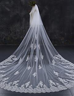 baratos Loja de Casamentos-Duas Camadas Borda com aplicação de Renda Casamento Véus de Noiva Véu Capela Véu Catedral Com Renda Renda Tule