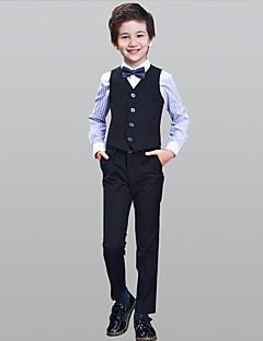Azul Marinho Escuro 100% algodão Terno de Pajem - 4 Inclui Calças Colete Gravata Borboleta Camisa