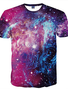 cheap Men's Tees & Tank Tops-Men's Club Basic Slim T-shirt - Galaxy Print Round Neck / Short Sleeve