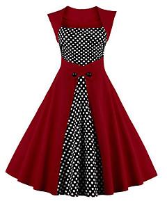 baratos Vestidos de Mulher-Mulheres Tamanhos Grandes Feriado Moda de Rua Bainha Vestido Poá Decote Quadrado Cintura Alta Altura dos Joelhos
