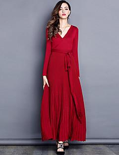 Kadın Çalışma Kumsal Basit Salaş Elbise Solid,Uzun Kol V Yaka Maksi Akrilik Polyester Bahar Sonbahar Yüksek Bel Streç İnce