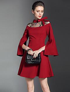 Kadın Günlük/Sade Basit A Şekilli Elbise Solid,Uzun Kol Kayık Yaka Diz üstü Polyester Sonbahar Normal Bel Mikro-Esnek Opak