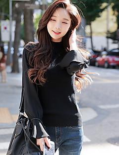 Feminino Padrão Pulôver,Para Noite Casual Simples Moda de Rua Sólido Gola Redonda Manga Longa Algodão Chinês Inverno Outono Opaca