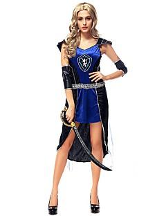 Vintage Het oude Griekenland Kostuum Vrouwelijk Rok blauw Vintage Cosplay Polyster Korte mouw Kap Kort / Mini
