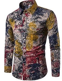 billige Herremote og klær-Lin Opprett krage Skjorte - Blomstret Vintage Chinoiserie Bohem Klubb Herre