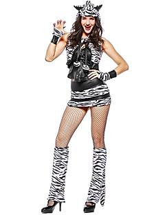 billige Voksenkostymer-Sebra Kjoler Cosplay Kostumer Kvinnelig Halloween Karneval Nytt År Festival / høytid Halloween-kostymer Svart Fargeblokk Dyr
