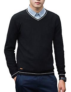 tanie Męskie swetry i swetry rozpinane-Męskie Praca Aktywny W serek Pulower Jendolity kolor