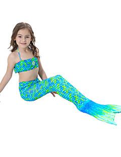 billige Badetøj til piger-Pige Sødt Aktiv Trykt mønster Badetøj, Bomuld Polyester Uden ærmer Grøn