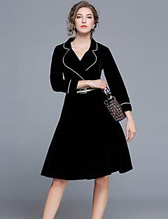 Kadın Günlük/Sade Vintage A Şekilli Elbise Solid,Uzun Kol V Yaka Diz üstü Polyester Kış Sonbahar Normal Bel Mikro-Esnek Opak