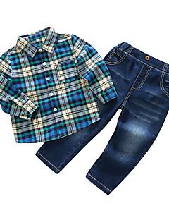 Χαμηλού Κόστους Kids' Clothing Sets-Αγορίστικα Σετ Ρούχων Βαμβάκι Πολυεστέρας Καρό Καθημερινά Άνοιξη Μακρυμάνικο Θαλασσί