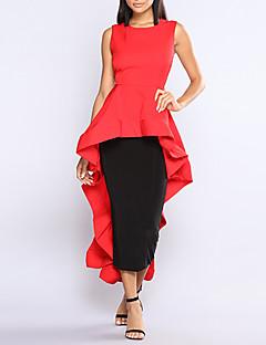 baratos Vestidos de Festa-Mulheres Calças - Sólido Vermelho, Frufru Preto / Festa / Assimétrico / Bandagem / Delgado