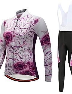 abordables -CYCOBYCO Maillot et Cuissard Long à Bretelles de Cyclisme Femme Manches Longues Vélo Pantalon / Surpantalon Maillot Collants Collant à
