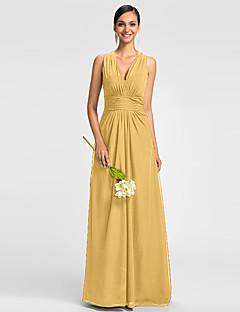 Γραμμή Α Λαιμόκοψη V Μακρύ Σιφόν Φόρεμα Παρανύμφων με Πλαϊνό ντραπέ Πλισέ με LAN TING BRIDE®