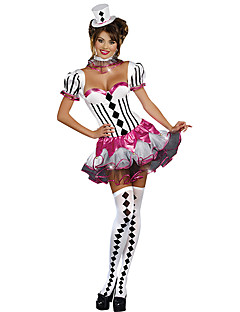 levne -Burlesque/Klaun Cosplay Kostýmy Dámské Halloween Festival / Svátek Halloweenské kostýmy Bílá Kostkovaný