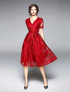 Χαμηλού Κόστους Μάρκες-Γυναικεία Εξόδου Κομψό στυλ street Swing Φόρεμα - Μονόχρωμο Μίντι Λαιμόκοψη V Κόκκινο