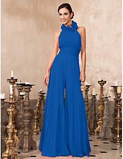 billiga Kändisklänningar-Jumpsuit Halterneck Golvlång Chiffong Formell kväll Klänning med Plisserat av TS Couture®