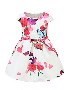 billige Pigekjoler-Pigens Kjole Daglig I-byen-tøj Ensfarvet Blomstret Sommerfugl, Bomuld Forår Sommer Kortærmet Sødt Aktiv Prinsesse Rød