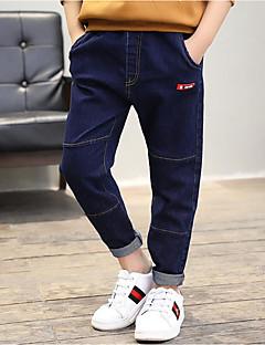 billige Jeans til drenge-Drenge Jeans Ensfarvet Simpel Patchwork, Bomuld Forår Efterår Aktiv Blå Sort