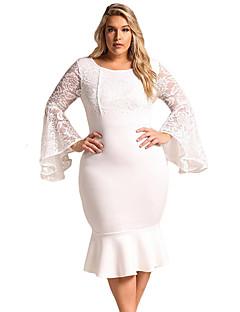 cheap Plus Size Dresses-Women's Plus Size Flare Sleeve Sheath Dress - Solid Color, Lace High Waist