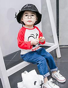 billige Babyoverdele-Baby Pige T-shirt Maleri, Bomuld Langærmet Normal Rød Lyserød Lyseblå