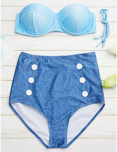 billige Moteundertøy-Dame Med stropper Bandeau Bikini - Trykt mønster, Høy Midje Polkadotter