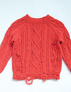 billige Sweaters og cardigans til piger-Unisex Trøje og cardigan Daglig Ensfarvet, Bomuld Forår Langærmet Simple Blå Rød Gul