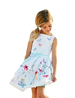 cheap Girls' Clothing-Girl's Christmas Birthday Going out Floral Galaxy Jacquard Dress,Cotton Acrylic All Seasons Sleeveless Vintage Cute Princess White