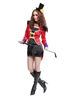 billige Halloweenkostymer-ringmaster Sirkus Kjoler Cosplay Kostumer Party-kostyme Dame Halloween Karneval Festival / høytid Halloween-kostymer Svart Fargeblokk