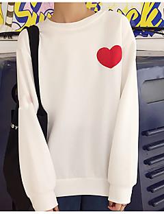 tanie Damskie bluzy z kapturem-Damskie Rozmiar plus Bawełna Krótki rękaw Bluzy - Jendolity kolor