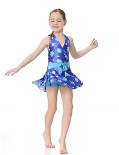 billige Badetøj til piger-Pige Blomstret Badetøj, Nylon Lycra Lilla Rosa