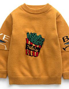 お買い得  男児 セーター&カーディガン-男の子 学校 プリント スパンデックス セーター&カーデガン 春 長袖 カジュアル ストリートファッション ブラック イエロー