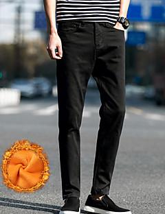 billige Herrebukser og -shorts-Herre Enkel Mikroelastisk Chinos Bukser, Mellomhøyt liv Ensfarget Vinter Høst