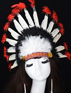billige Halloweenkostymer-Karneval Hatter Hvit Fjær Cosplay-tilbehør Karneval / Maskerade Halloween-kostymer