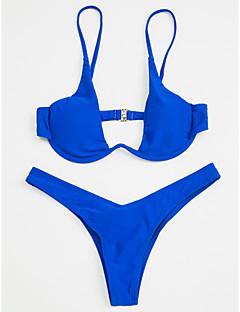 billige Bikinier og damemote 2017-Dame Med stropper Trekant Bikini - Grunnleggende, G-streng Ensfarget