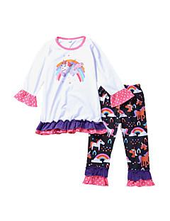 billige Tøjsæt til piger-Pige Tøjsæt Daglig Dyretryk Regnbue, Bomuld Forår Langærmet Sødt Afslappet Hvid