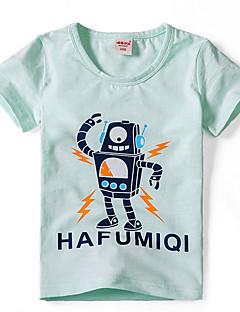 お買い得  男児 トップス-男の子 塗装 コットン Tシャツ 夏 半袖 シンプル グリーン ホワイト グレー ライトグリーン