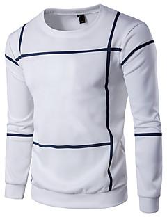 billige Herremote og klær-Bomull Tynn Rund hals T-skjorte - Ensfarget Stripet Helg Herre