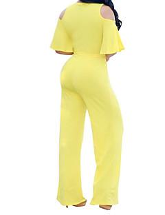 tanie Kombinezony damskie-Damskie Wyrafinowany styl Kombinezon - Jendolity kolor, Wycięcia W serek Spodnie szerokie nogawki