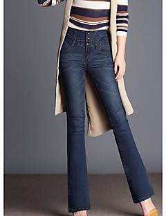 billige Kvinde Underdele-Dame Jeans Bukser Ensfarvet Højtaljede