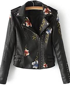 cheap -Women's Going out Street chic Winter Fall Short Leather Jacket Peter Pan Collar PU Print
